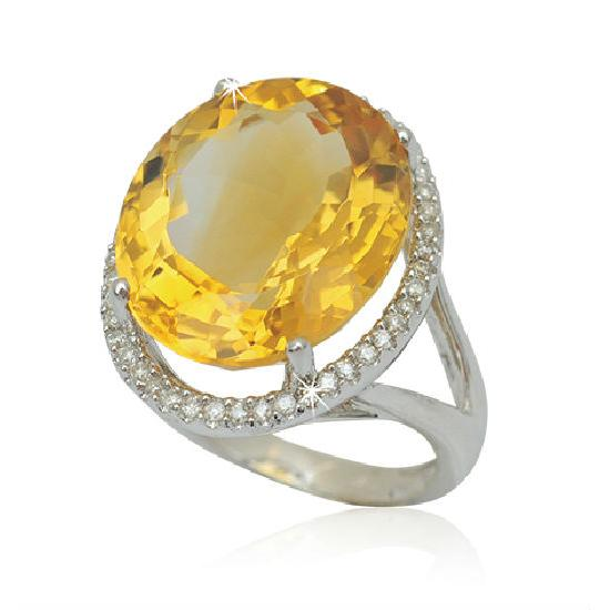18K Diamond & Gemstone Ring (Hong Kong)